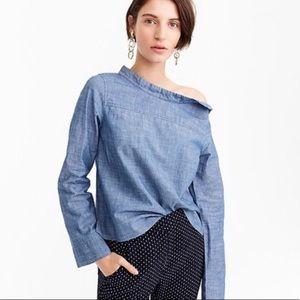J.Crew Chambray Funnel Neck Shoulder Buttons Shirt